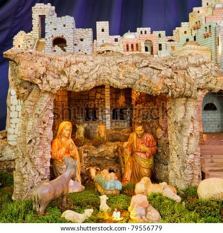 Christmas Nativity Scene - Baby Jesus, Mary, Joseph.