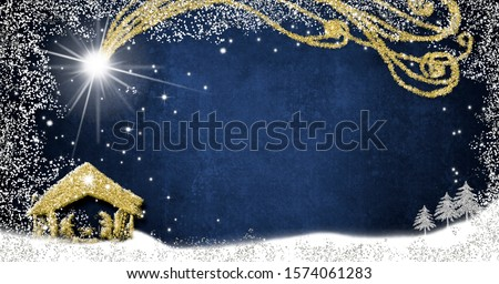 Christmas Nativity Scene creche greetings cards, abstract freehand drawing of Nativity scene with silver and gold glitter on blue paper background with blank, panoramic image.