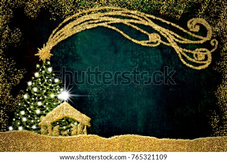 Christmas Nativity Scene greetings cards, abstract freehand drawing of Nativity scene and fir tree with golden glitter, grunge background with blank.