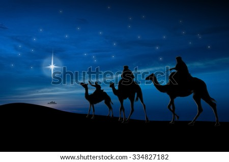 Christmas nativity scene of three wise men looking for baby Jesus