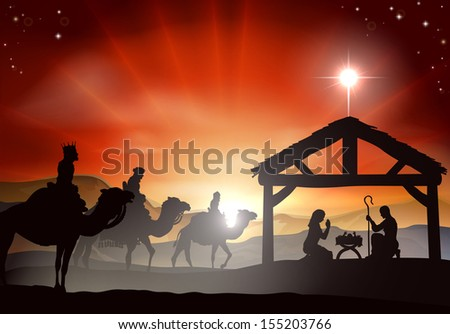 Christmas nativity scene with baby Jesus in the manger in silhouette, three wise men or kings and star of Bethlehem