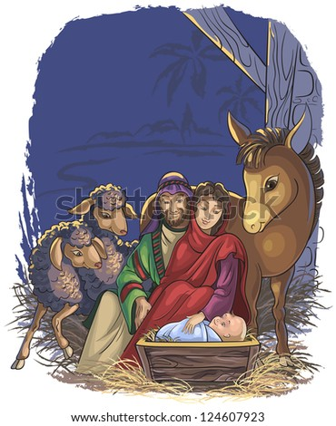 Christmas nativity scene with Holy Family. Book illustration of the Birth of Jesus. Raster version