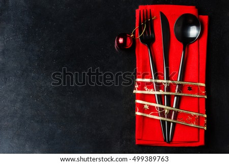 christmas new year background christmas menu background with copy space black steel cutlery set