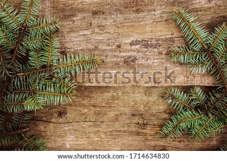 Christmas, New Year. Fir on the wooden table