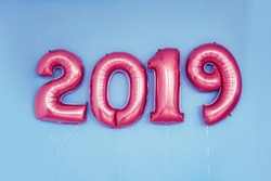 Christmas New Year 2019 numbers balloons. Celebration, holiday.