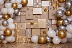 Christmas, new year or birthday background - decorated wall with  gift boxes and colorful air balloons