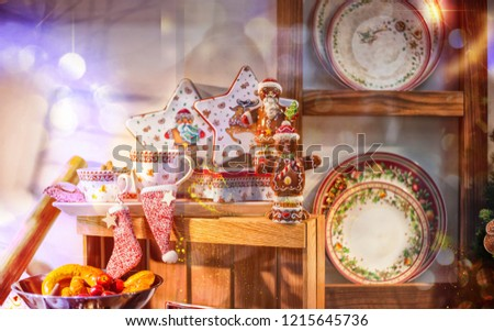 Christmas New Year's dinner set of dishes and decoration for a holiday feast #1215645736