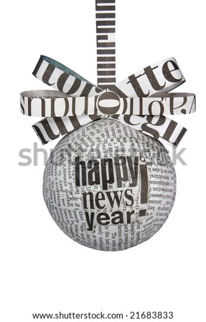 Christmas newspaper bulb with ribbon and bow. Isolated on white.