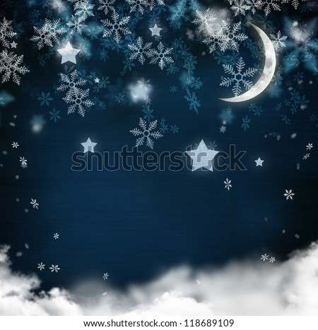 Christmas night background in vintage style for greeting card or background