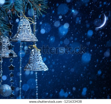 christmas night decoration on blue background - stock photo