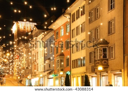 Christmas Night in a City Street