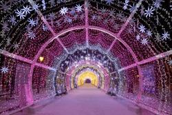 Christmas night Moscow. The light tunnel on Tverskoy Boulevard