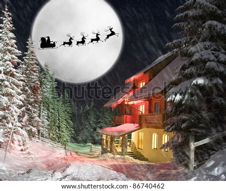 Christmas night. Santa and his reindeers riding against moon