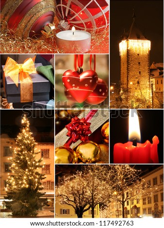 Christmas night with warm lights collage - stock photo