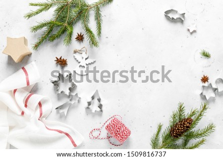 Christmas, Noel or New Year food flat lay background with xmas decorations and fir tree #1509816737