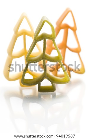 christmas noodles pasta isolated on white ground
