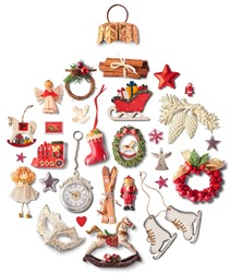 Christmas objects laid out in the shape of a Christmas bauble, overhead view. Space for your text. High resolution image
