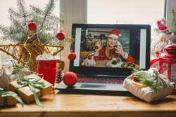 Christmas online holiday remote celebration X mas new year in lockdown coronavirus quarantine covid 19 new normal,social distance, remote communication, stay home vocation,Christmas party online