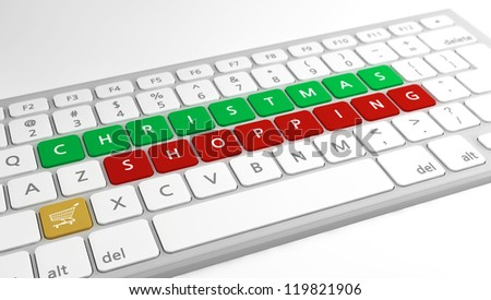 Christmas (online) shopping concept as keys on a modern computer keyboard. Selective focus on the word Shopping.