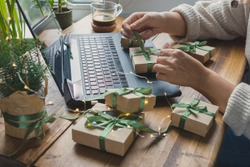 Christmas online shopping, sales and discounts promotions during the Christmas holidays, online shopping at home and lockdown coronavirus.Xmas Selective focus
