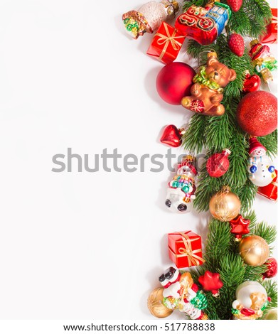 Christmas or New Year background: gifts, colored glass balls and toys, decoration on white background  #517788838
