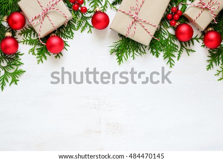 Christmas or New Year background, plain composition made of Xmas decorations and fir branches, flat lay, blank space for a greeting text #484470145