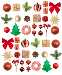 Christmas or New Year background: red and gold glass balls, fir tree branches, decoration and gifts on white background.