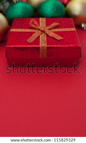 Christmas or New Year gift with space for text vertical
