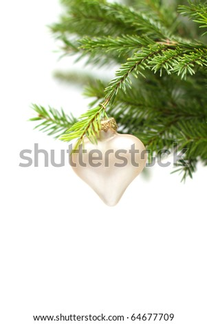 Christmas or New Year green fir and decoration isolated on white background