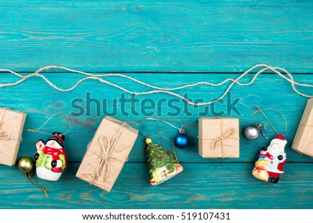 Christmas or New Year presents and Christmas toys on a blue wooden background #519107431