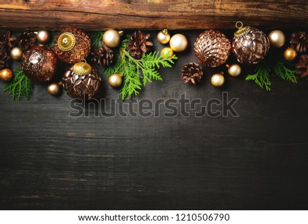 christmas or new year rustic moody background with blank space for a text greeting card
