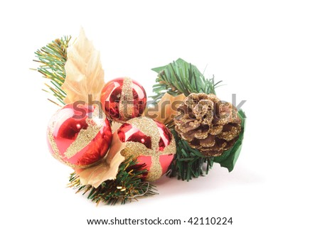 Christmas or New Year's ornaments isolated on white background