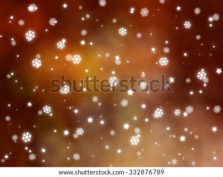 Christmas orange background. The winter background, falling snowflakes #332876789