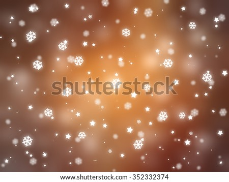 Christmas orange background. The winter background, falling snowflakes #352332374