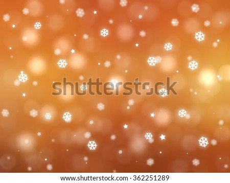 Christmas orange background. The winter background, falling snowflakes #362251289