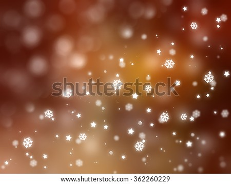 Christmas orange background. The winter background, falling snowflakes #362260229