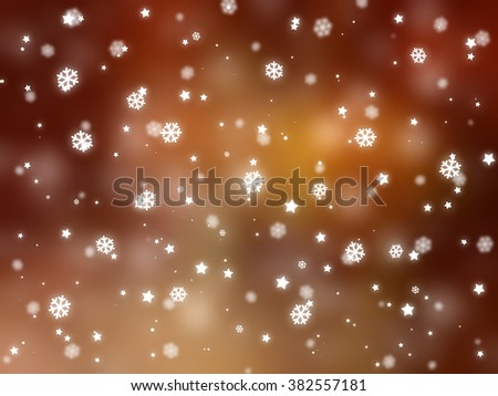 Christmas orange background. The winter background, falling snowflakes #382557181