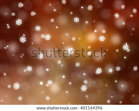 Christmas orange background with falling snowflakes. #401164396