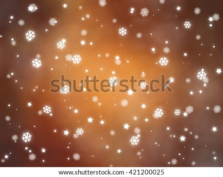 Christmas orange background with falling snowflakes. #421200025