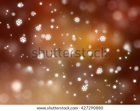 Christmas orange background with falling snowflakes. #427290880