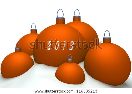 Christmas orange balls with mark 2013 in snow isolated on white background 3d concept