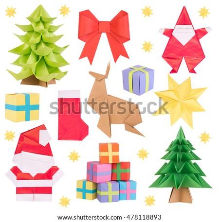 Christmas origami isolated on white background #478118893