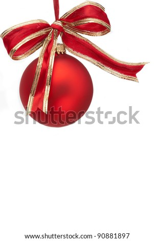 Christmas Ornament and Bow on White Background