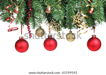 Christmas ornament hanging over white background