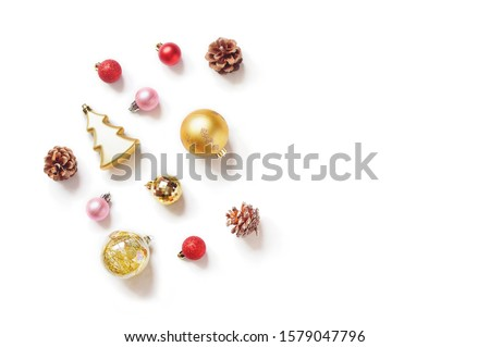 Christmas ornament set flat lay photo. Elegant classic New Year decoration. Red, pink, gold balls and pine cones. Mockup, free space for text #1579047796