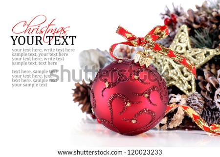 Christmas ornament with red ribbon, pine cones and star