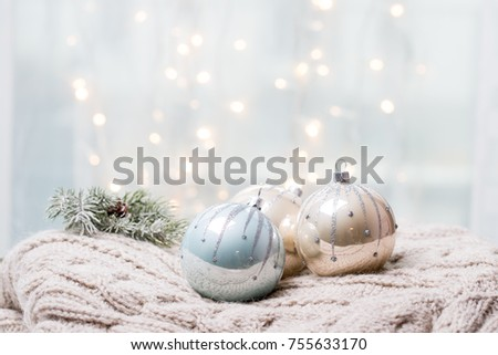 Christmas ornaments and a woolen sweater #755633170