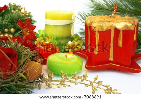 Christmas ornaments.Candles,holly-berry,rose.