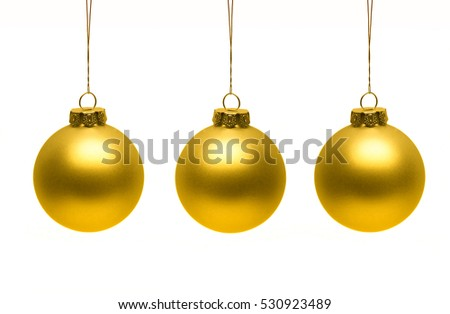 christmas ornaments hanging isolated on white background - White And Gold Christmas Ornaments