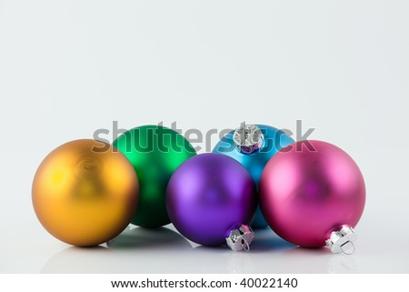Christmas ornaments in various colors